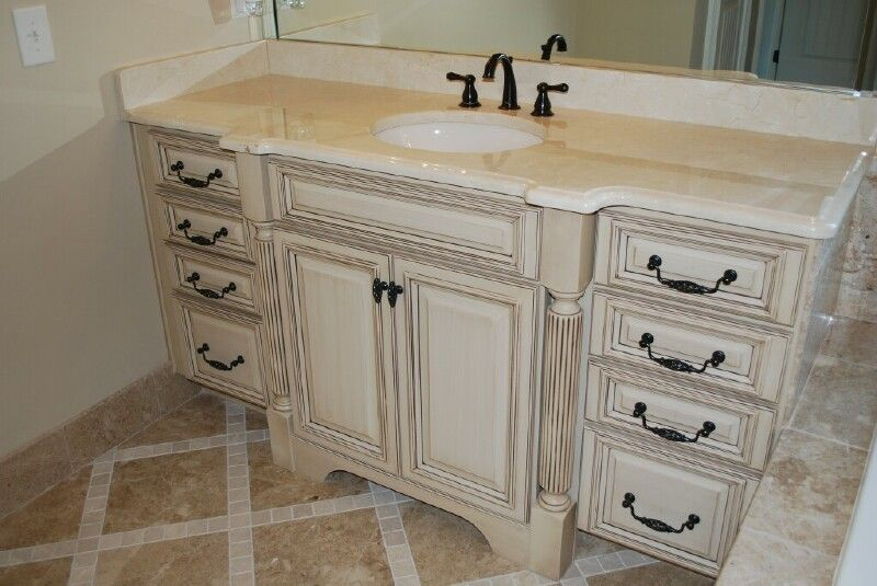 Distressed White Kitchen Cabinets French Vanilla With Charcoal Mist Glaze Premium House