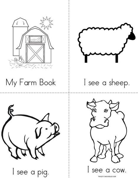 farm mini book from animal readers coloring pages and worksheets farm. Black Bedroom Furniture Sets. Home Design Ideas