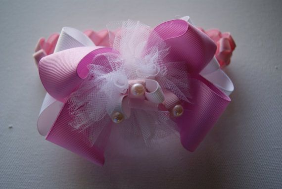 Pink Grosgrain Ribbon Braided Headband por LittleAlinasBowtique, $6.50