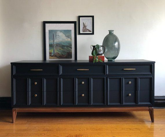 Best Matte Black And Wood Mid Century Modern Dresser By Dixie 640 x 480
