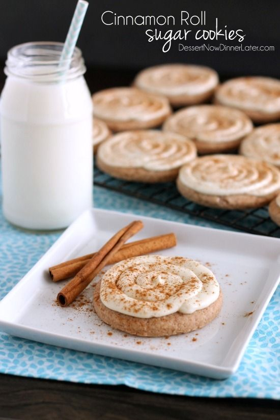Cinnamon Roll Sugar Cookies | Dessert Now, Dinner Later!