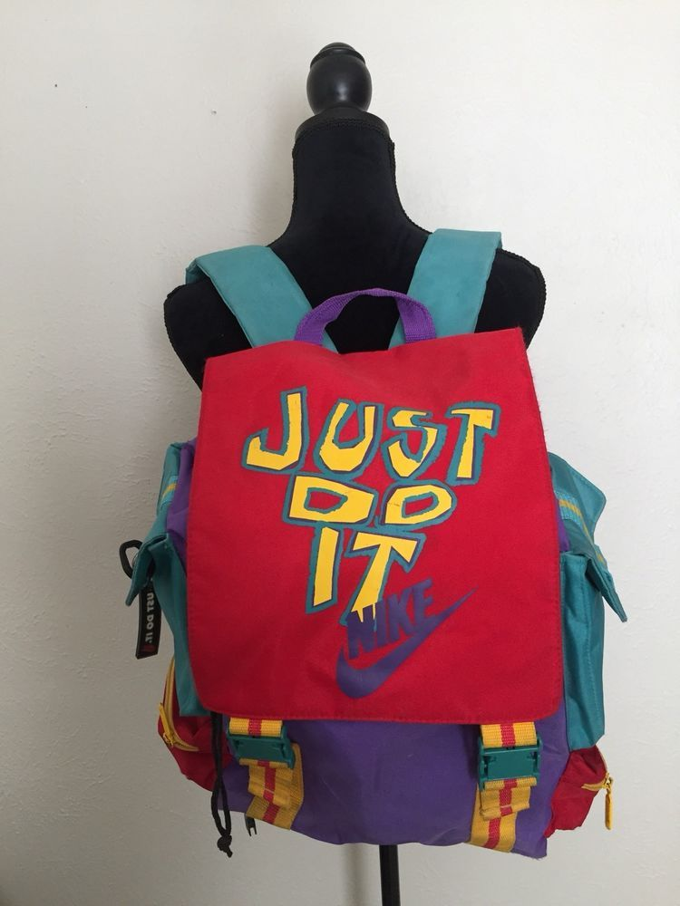 Vintage Nike Backpack Just Do It 80 s Classic Old School Purple Yellow Red  Teal  Nike  Backpack  retro  rad  ebay  buyme  auction  vintagefashion