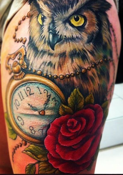 b80b012e9f518 I want a tattoo similar to this :) a broken clock with a owl holding a rose..  timeless wisdom and beauty is my meaning :3