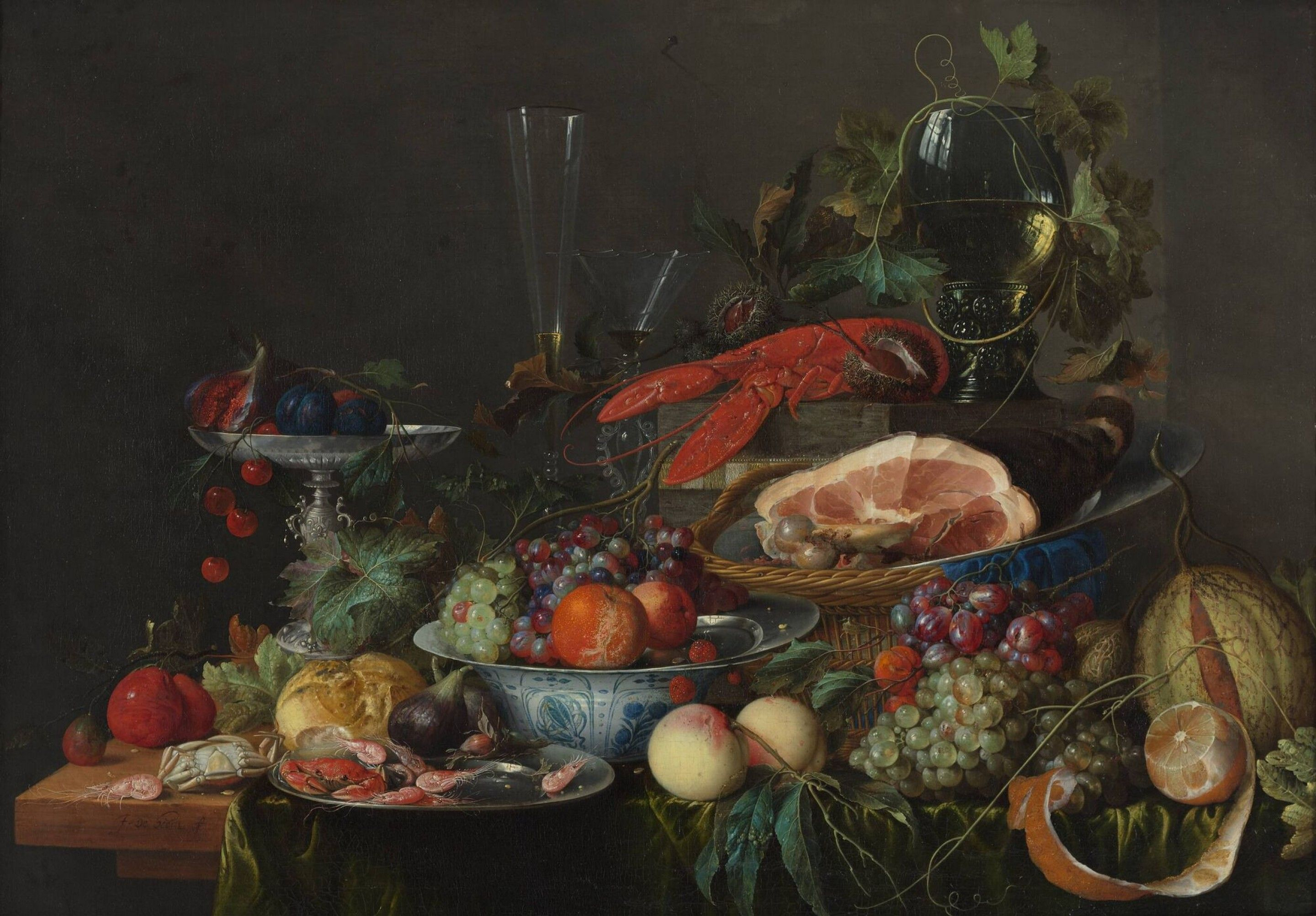 Still life with ham, lobster and fruit Jan Davidsz. de Heem, c. 1653 ...