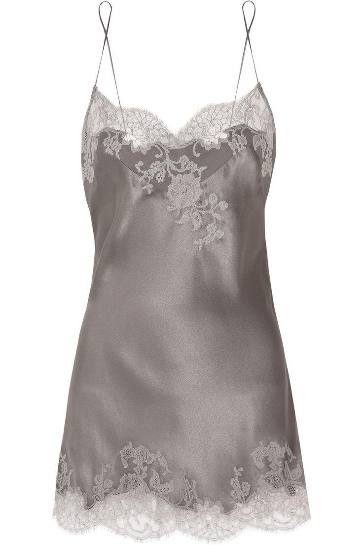 4b5d2ec42b768 Carine Gilson | Sonia lace-appliquéd silk-satin chemise | NET-A-PORTER.COM  - #Carine #chemise #chemiseNETAPORTERCOM #GilsonSonia #laceappliquéd  #silksatin