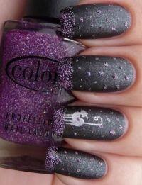 grey, purple, silver cat and dots nail art