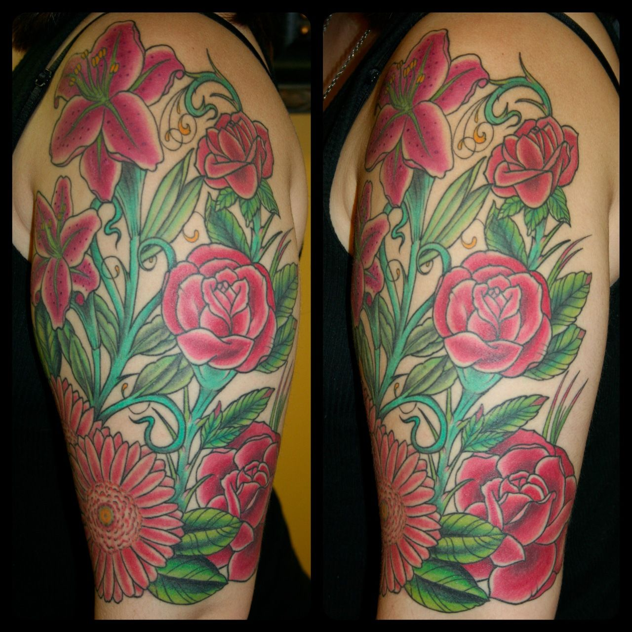 Red floral halfsleeve tattoo with roses, a lilly and
