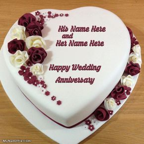Write Your Name On Heart Wedding Anniversary Cake Picture In Beautiful Style Best To Names Collection Of Cakes Pix