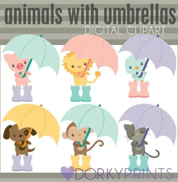 Animals with Umbrellas Spring Clipart | Clip art, Bird ...