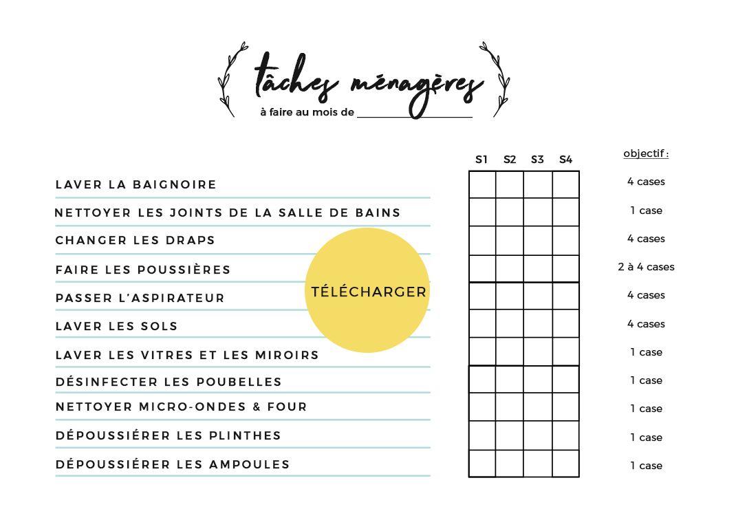 Comment j'organise mes tâches ménagères pour gagner en efficacité ! | Tâches ménagères, Tableau ...