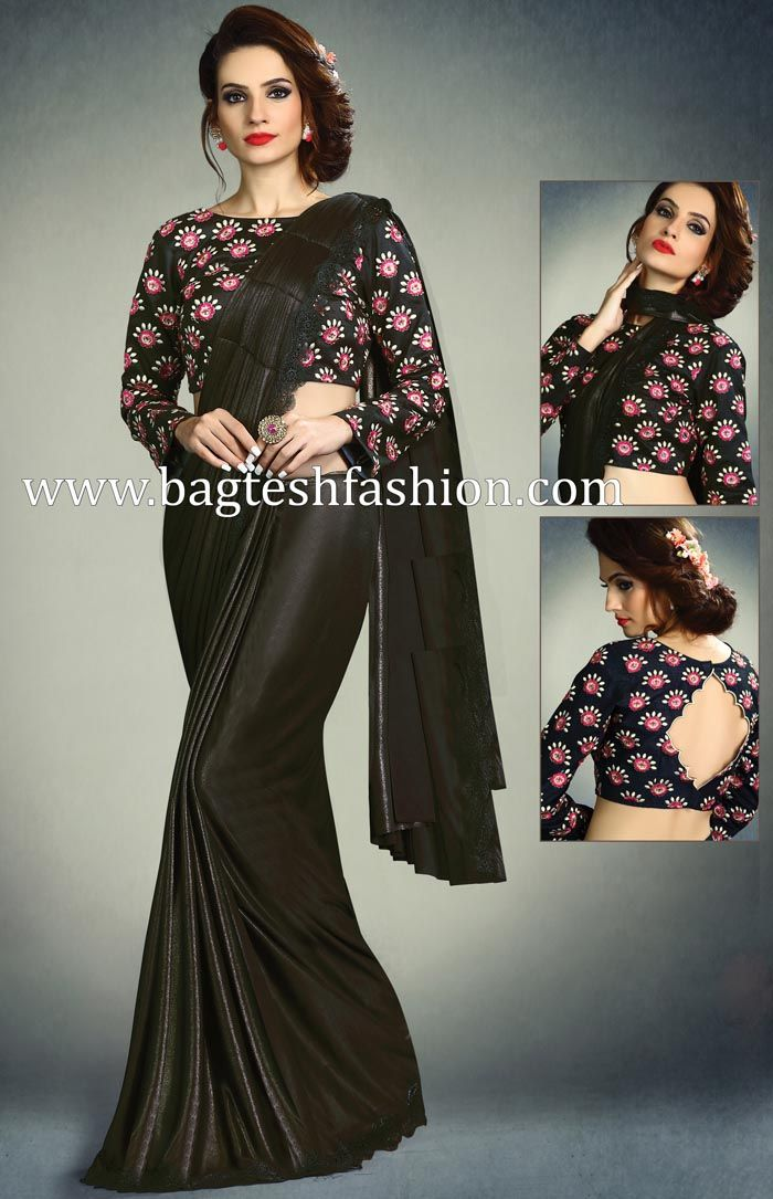 f3041bf340 Attractive Black Shimmer Lycra Saree   Wedding sarees in 2019 ...