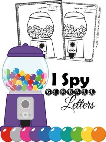 Free I Spy Gumball Letters Printables  Kindergarten Age Letter