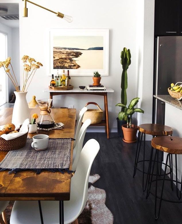 Small Space Kitchen And Dining Area Eclectic Wood Rustic Modern Mix