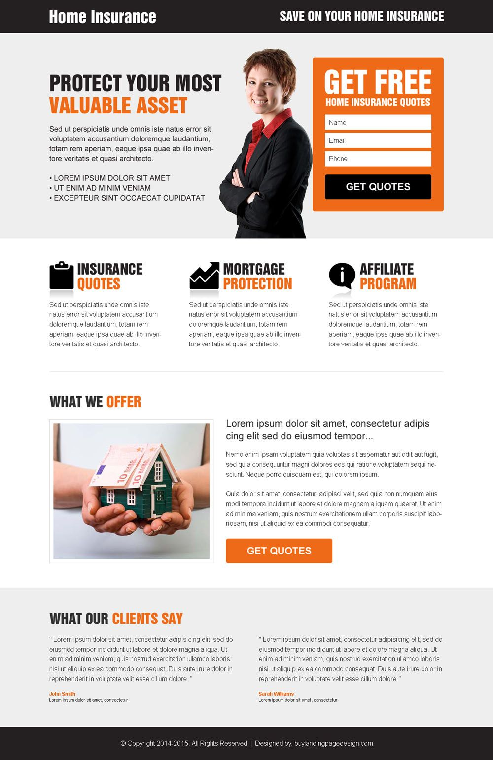 Homeowners Insurance Quote New Home Insurance Free Quote Clean Converting And Minimal Landing Page . Design Inspiration