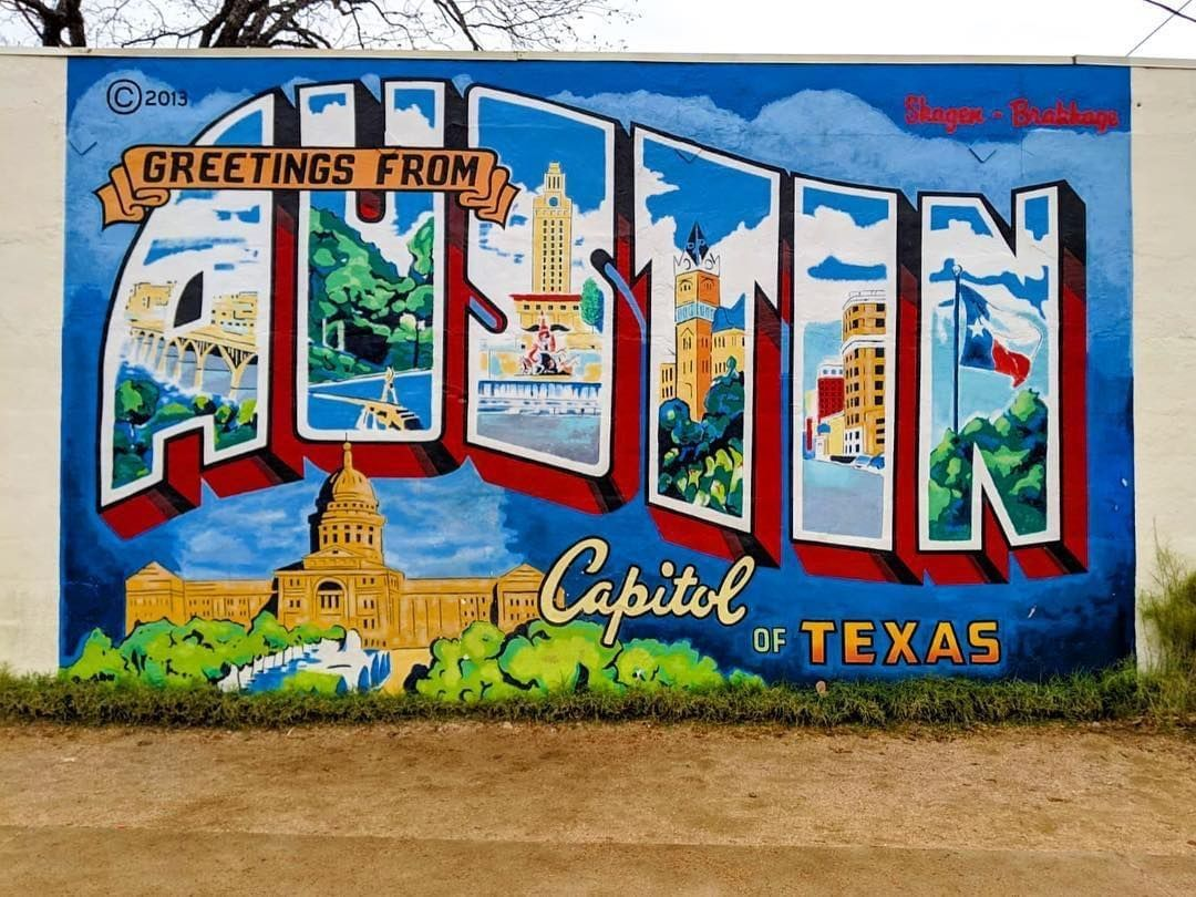 Austin Texas Things On Instagram The Greetings From Austin Mural Is A Long Time Favorite It Is A Rendi Austin Murals Fruit Wall Art Brooklyn Bridge Wall Art
