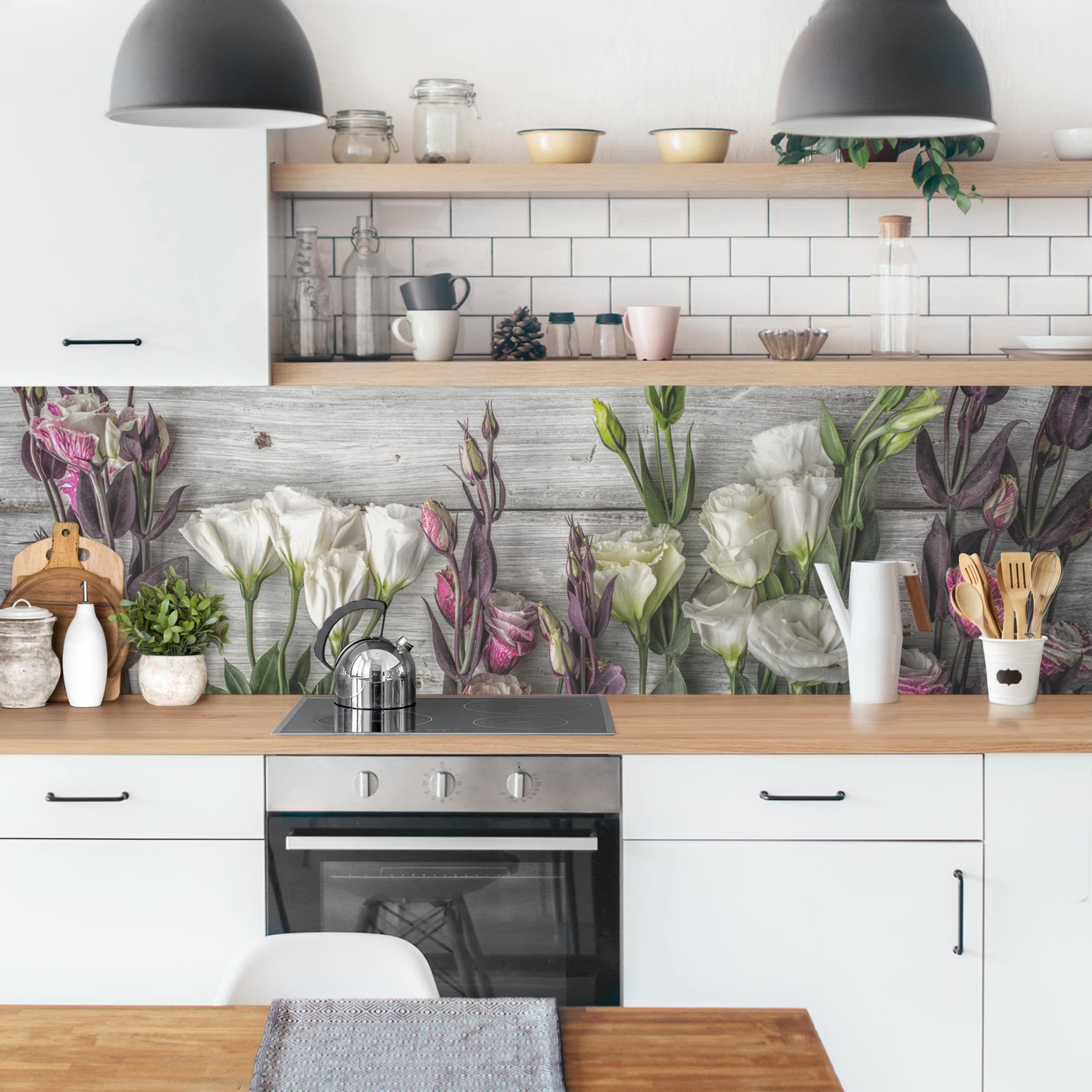Kuchenruckwand Tulpen Rose Shabby Holzoptik Kuchenruckwandfolie Schrank Kuche Bauernhaus Kuchenschranke Holzoptik