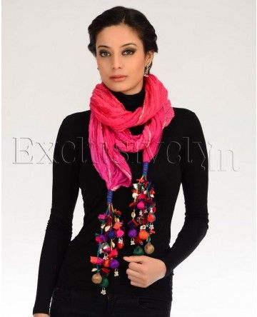 Shaded Pink and Purple Stole with Multicolored Tassels
