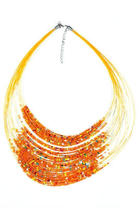 Kenyan Orange Beaded Drape Necklace