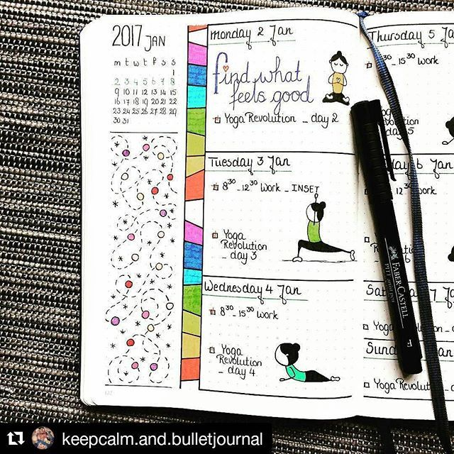 Wonderful partial week from @keepcalm.and.bulletjournal complete with daily yoga moves ・・・ • Mon, Tue & Wed • #bulletjournal #bulletjournaling #weekly #bujo #bujojunkies #planner #doodles #plannerpeace #bulletjournaljunkies #stationeryaddict #planneraddict #notebook #studyblr #studyspo #plannergirl #weeklyspread #journal #creativejournaling #weeklylayout #doodle #bulletjournalcollection #bjcweekly
