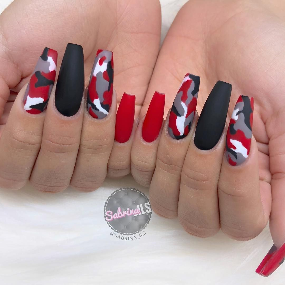 Check It Out These Red Black And White Camouflage Coffin Nails Are Super Trendy And Wil Camouflage Nails Black Nail Designs Red Acrylic Nails