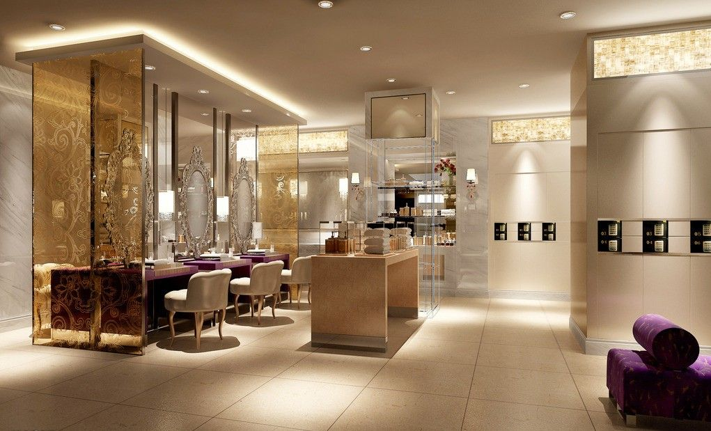 Beauty salon interior lighting and wall design rendering Incoming ...
