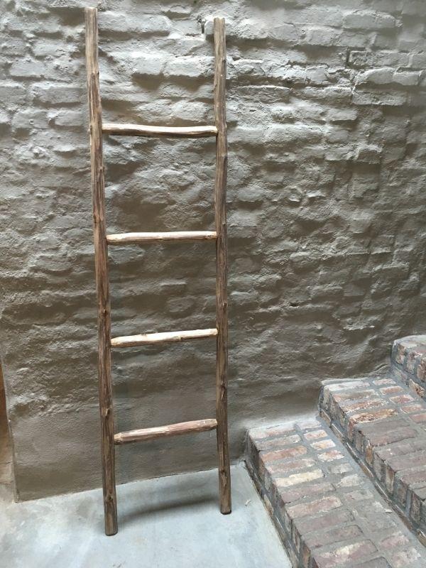 Robuuste Houten Ladder.Oud Houten Ladder Laddertje Trap Trapje Handdoekenrek Landelijk