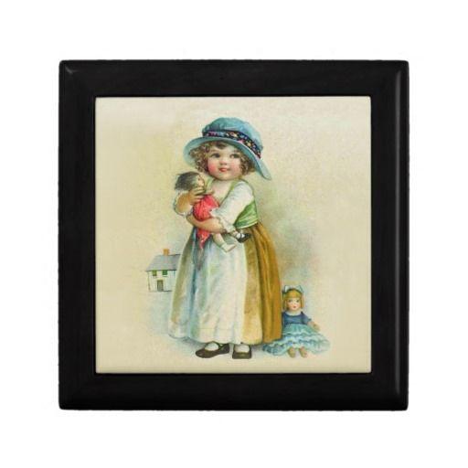 Vintage Little Girl Chubby Cheeks Hat Dolls Gift Box