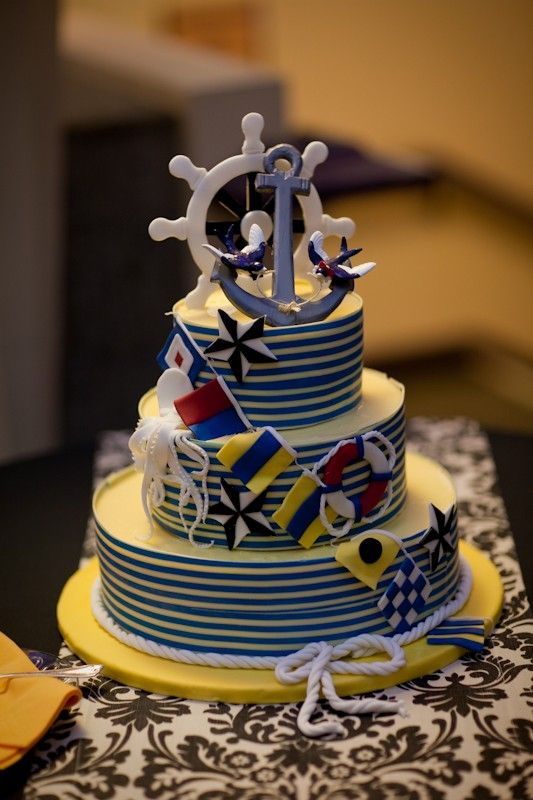 3 Dimensional Tattoo Anchor Bird Wedding Cake Topper by erin