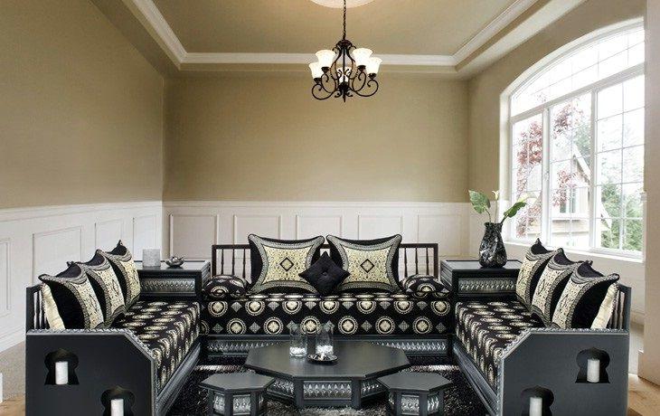 salon marocain traditionnel noir et blanc cass sedari pinterest - Sedari Moderne En Bois
