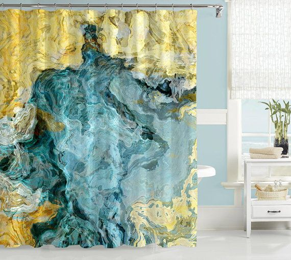 Abstract Shower Curtain Contemporary Bathroom Decor Aqua Blue And Yellow Art From Original Beach Time
