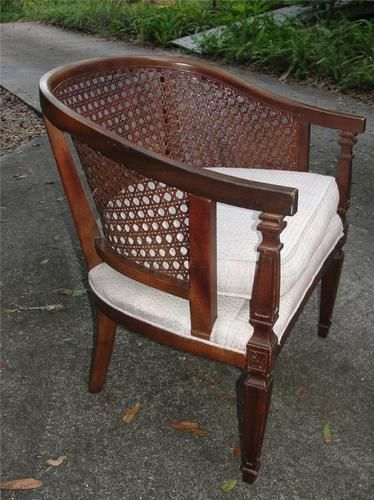Vintage Barrel Cane Back Side Chair Ebay Side Chairs Barrel Chair Chair