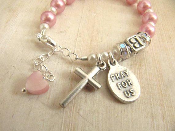 Niña personalizada rosa perla rosa Angel de la por TheCherishedBead