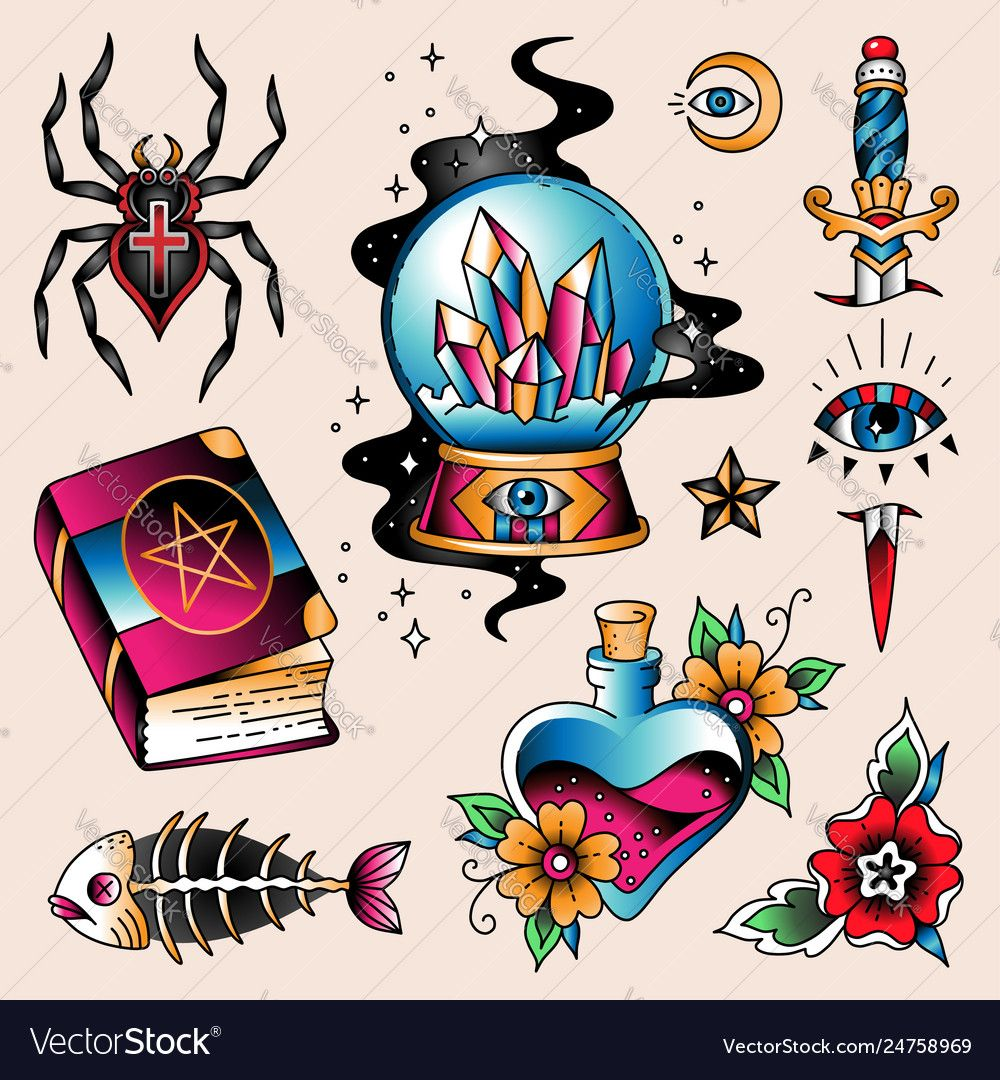Tattoo set mystic vector image on VectorStock