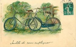 boy & girl bicycles,propped against fence in lane