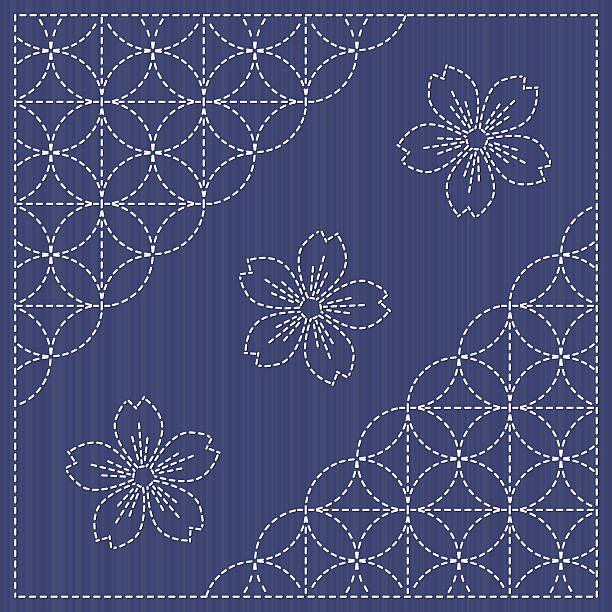 Can be used as seamless pattern. Japanese Embroidery Ornament with…