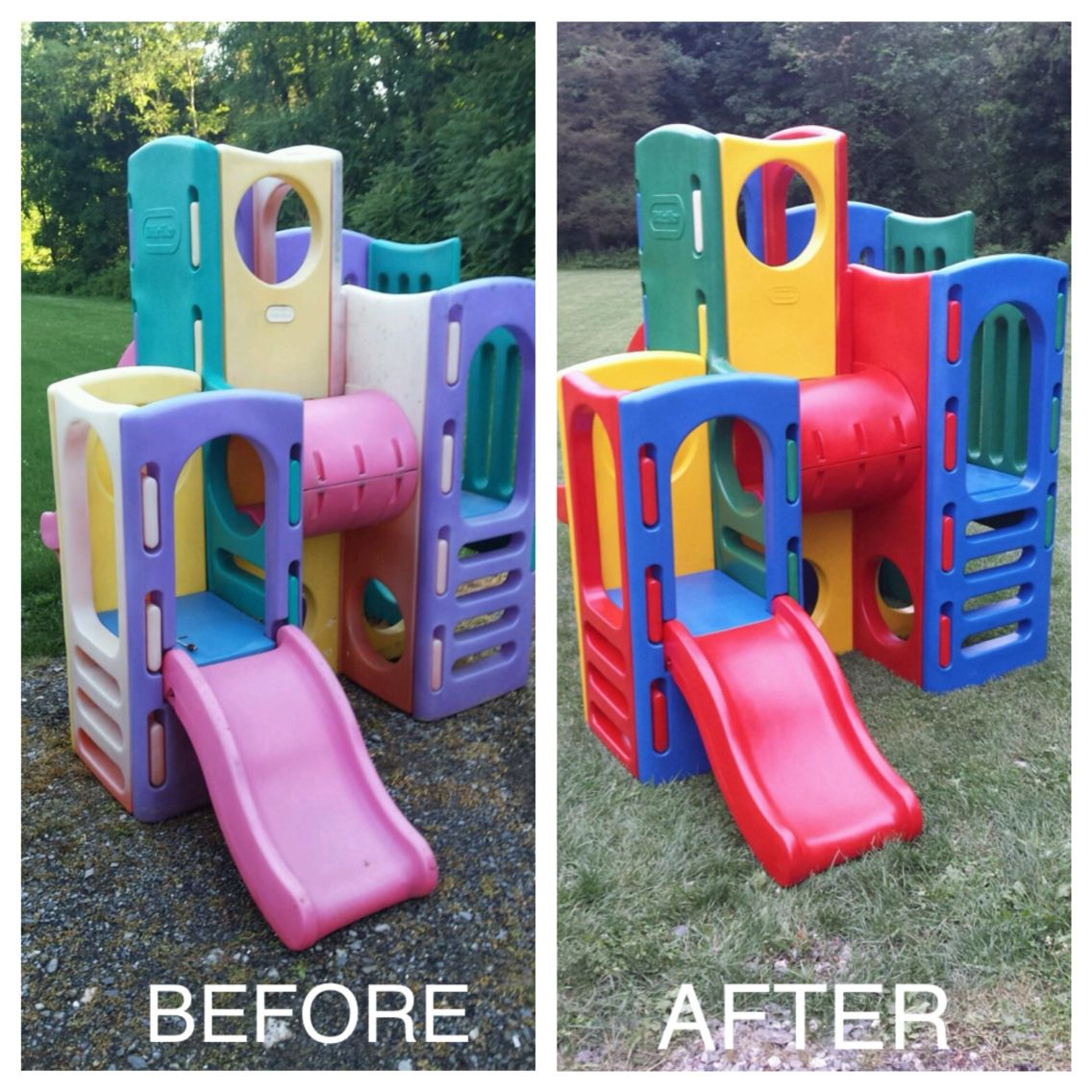 Spray Painted Little Tikes Tower 75 Tower Craigslist 100 Fusion Gloss Spray Paint 3 Hours L Diy Kids Playground Little Tikes Playground Backyard For Kids