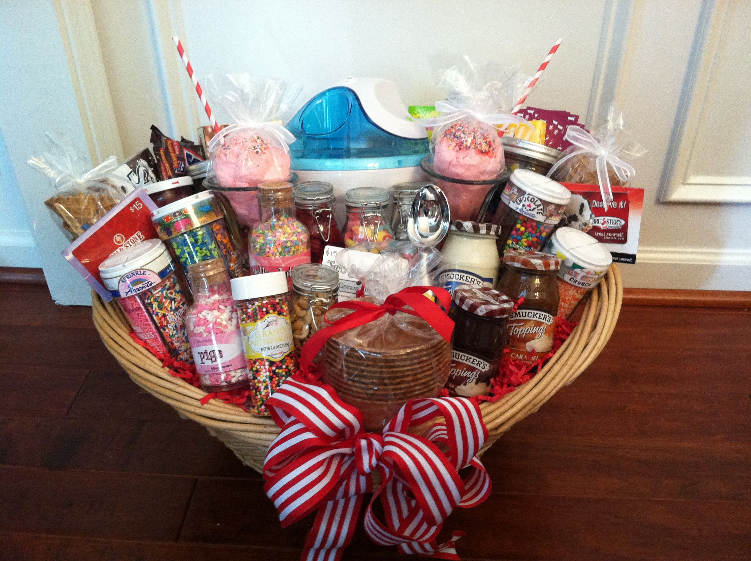 Ice cream auction basket love this selection of items