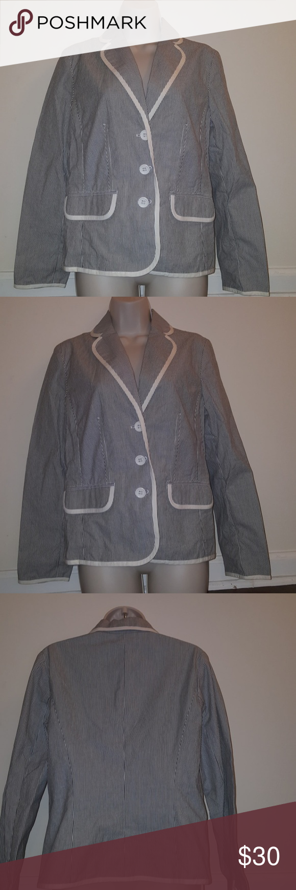 Liz Claiborne  Ladies Cotton Stripe Knit  Jacket Stripe  Front Deep Pockets Liz Claiborne Jackets & Coats