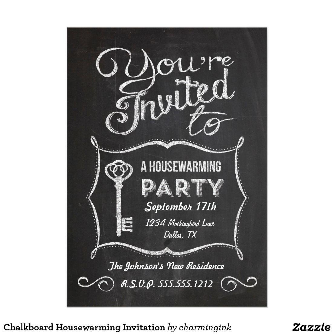 Chalkboard Housewarming Invitation House Pinterest Chalkboards