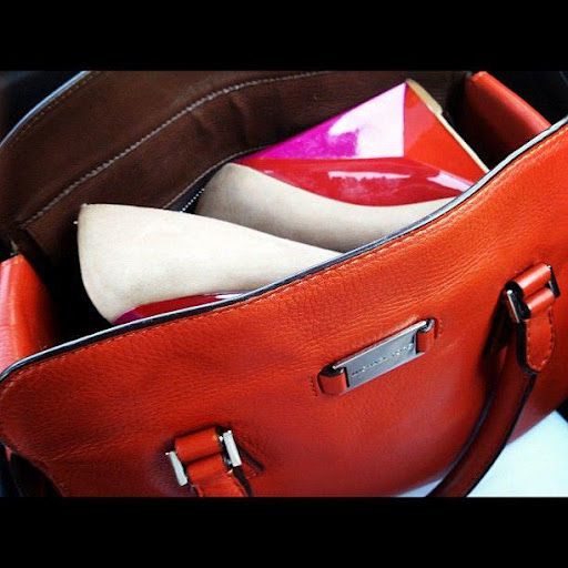 """My favorite accessories this Summer. @Rachel Roy """"Lacina"""" colorblock wedges and @Michael Kors """"Gia"""" bag in tangerine"""