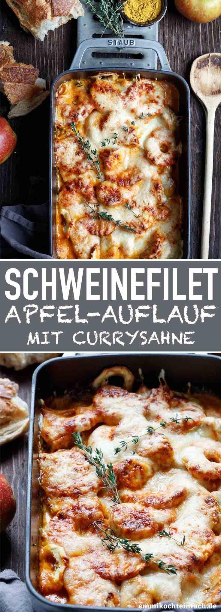 Gratinierter Schweinefilet-Apfel-Auflauf mit Currysahne #herbstgerichte