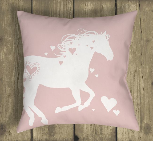 http://www.2uidea.com/category/Throw-Pillows/ Heart Horse Valentine's Day Throw Pillow - The Painting Pony