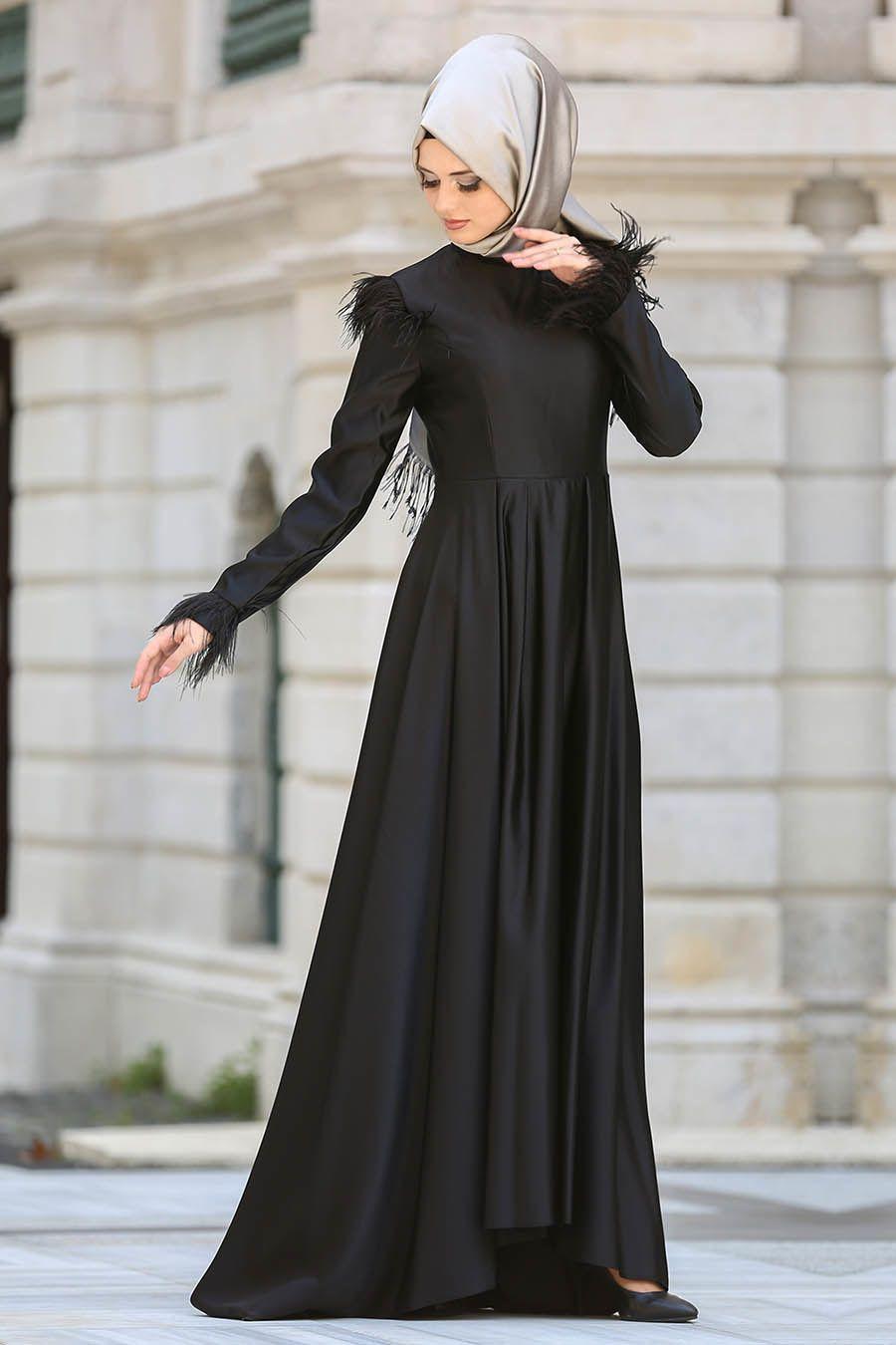 2d6d44a19bc7c Puane - Tüy Detaylı Siyah Tesettür Abiye Elbise 8181S   Abaya ...