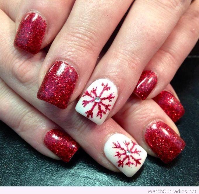 Red Glitter And White Christmas Nails Pinterest Red