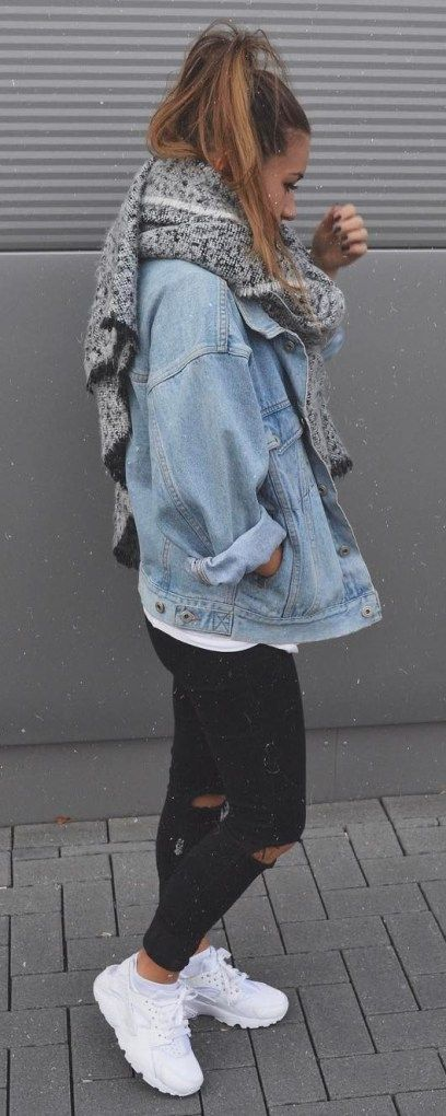 Fallen Street Style Süchtig Schal Plus Denim Jacke Plus Top Plus Skinnies Plus Sne #denimstreetstyle