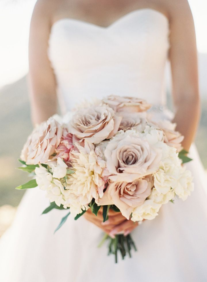 bridal bouquet shades of blush + muave