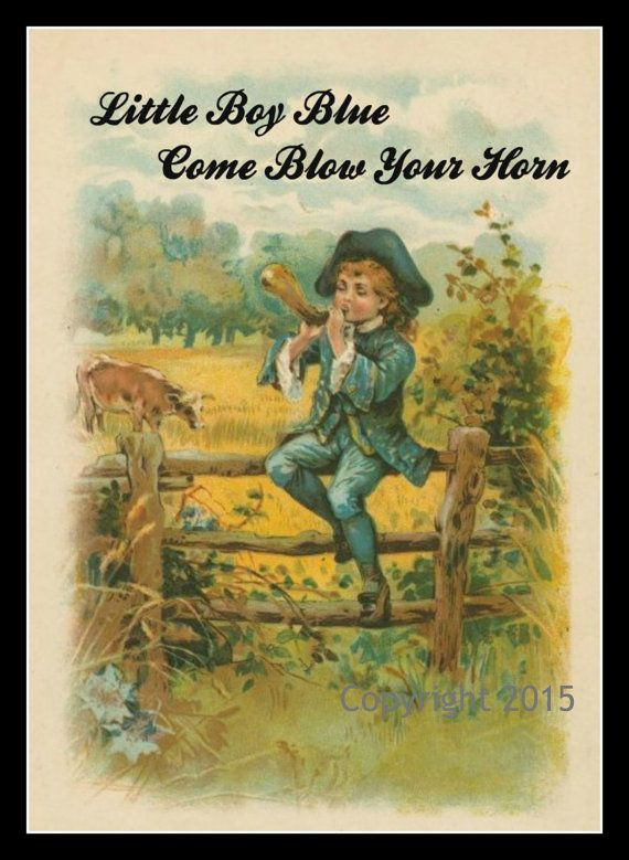 Nursery Rhyme Vintage Image Wall Art Little Boy Blue by joapan | Art ...