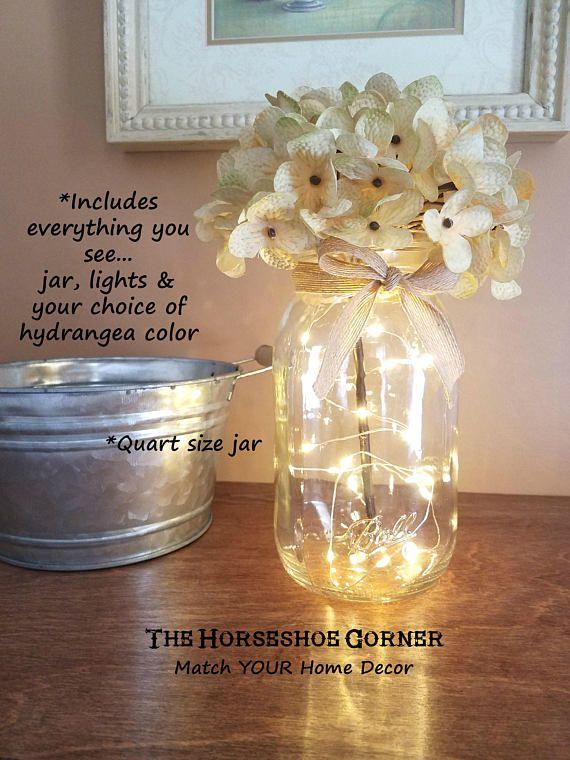 Mason Jar With Lights Lighted Mason Jar Vase Rustic Wedding Decor Hydrangea Vase Farmhouse Decor Mason Jar Lighted Centerpiece Lighted Centerpieces Wedding Centerpieces Jar Lights