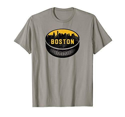 Vintage Boston Massachusetts Cityscape Hockey Retro T ...
