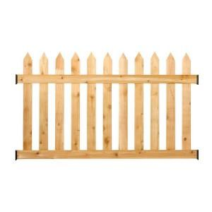 Outdoor Essentials 3 1 2 Ft H X 6 Ft W Cedar Spaced Picket Routed Fence Panel Kit 217784 The Home Depot Fence Panels Wood Fence Picket Fence Panels